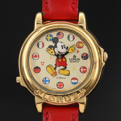 Lorus Mickey Mouse Musical Gold Tone Quartz Wristwatch