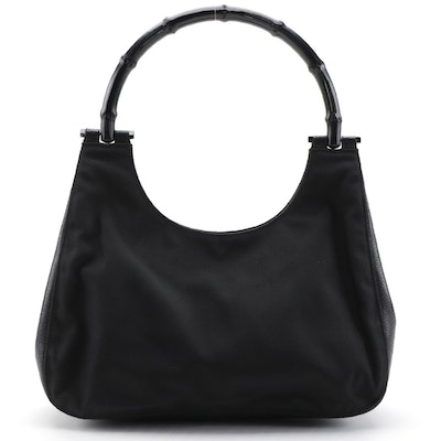 Gucci Black Nylon Shoulder Bag with Leather Trim and Bamboo Handle
