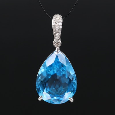 Sterling Silver Swiss Blue Topaz and Diamond Enhancer pendant