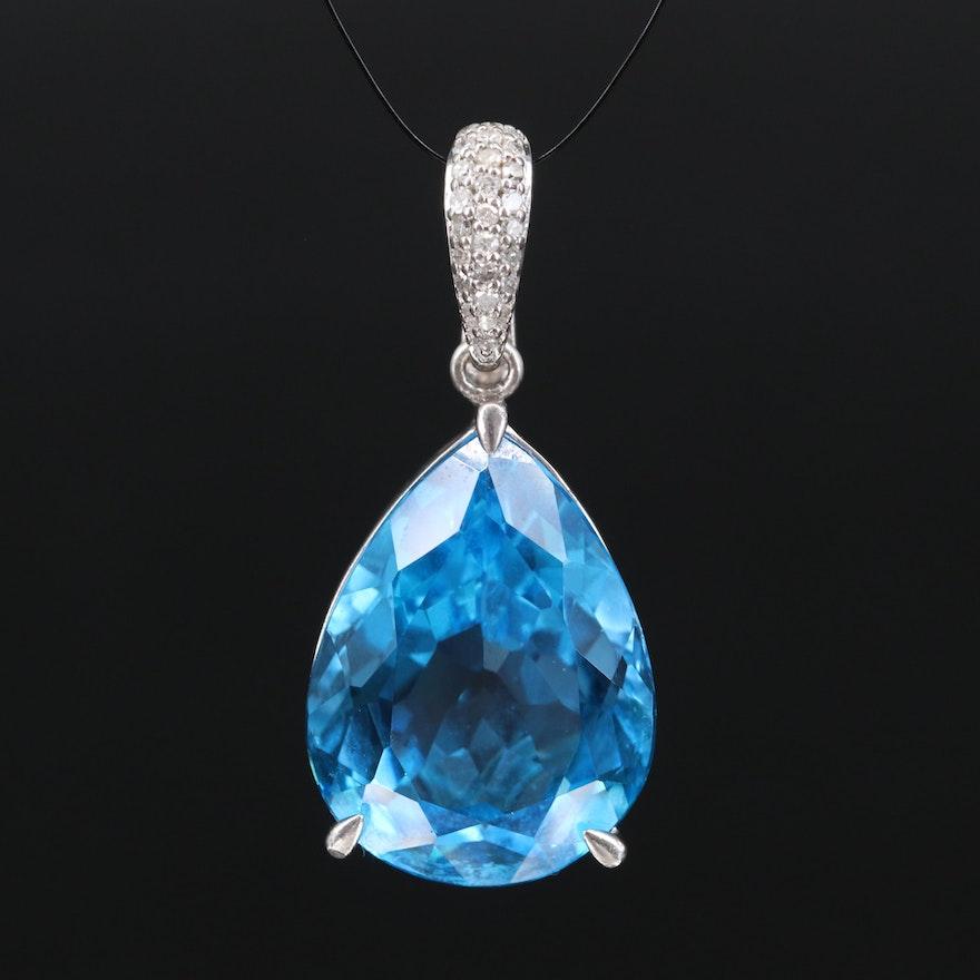 Sterling Silver Swiss Blue Topaz and Diamond Enhancer pendant