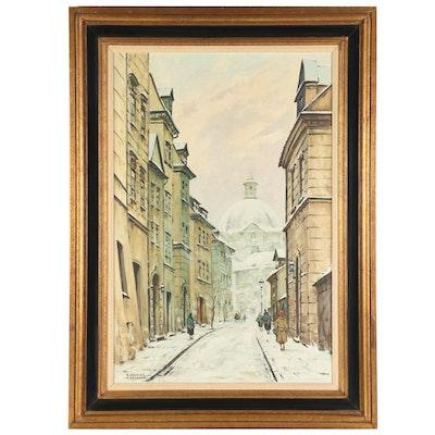 """Stanislaw Okulicz Oil Painting """"Warszawa,"""" Mid to Late 20th Century"""