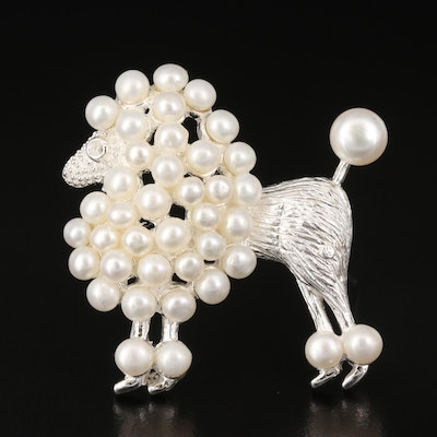 Sterling Silver Pearl Poodle Brooch