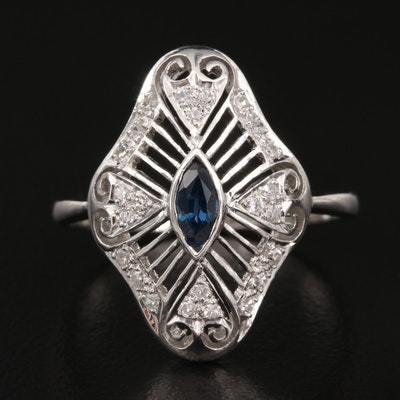 1940s 14K Sapphire and Diamond Openwork Ring