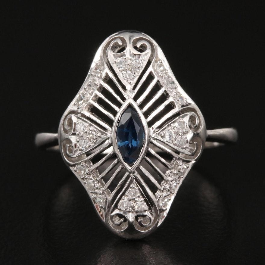 1940s 14K Sapphire and Diamond Openwork Ring