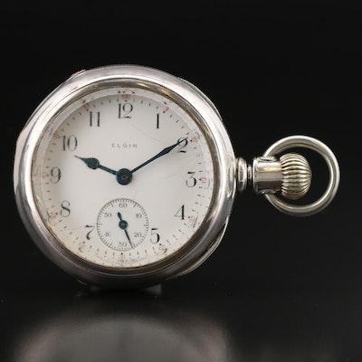 1909 Elgin Coin Silver Sidewinder Pocket Watch