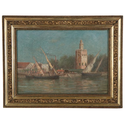 Otis Weber Maritime Oil Painting of Port, Late 19th Century