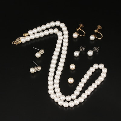 Pearl and Imitation Pearl Jewelry Featuring Vintage B.A. Ballou Earrings