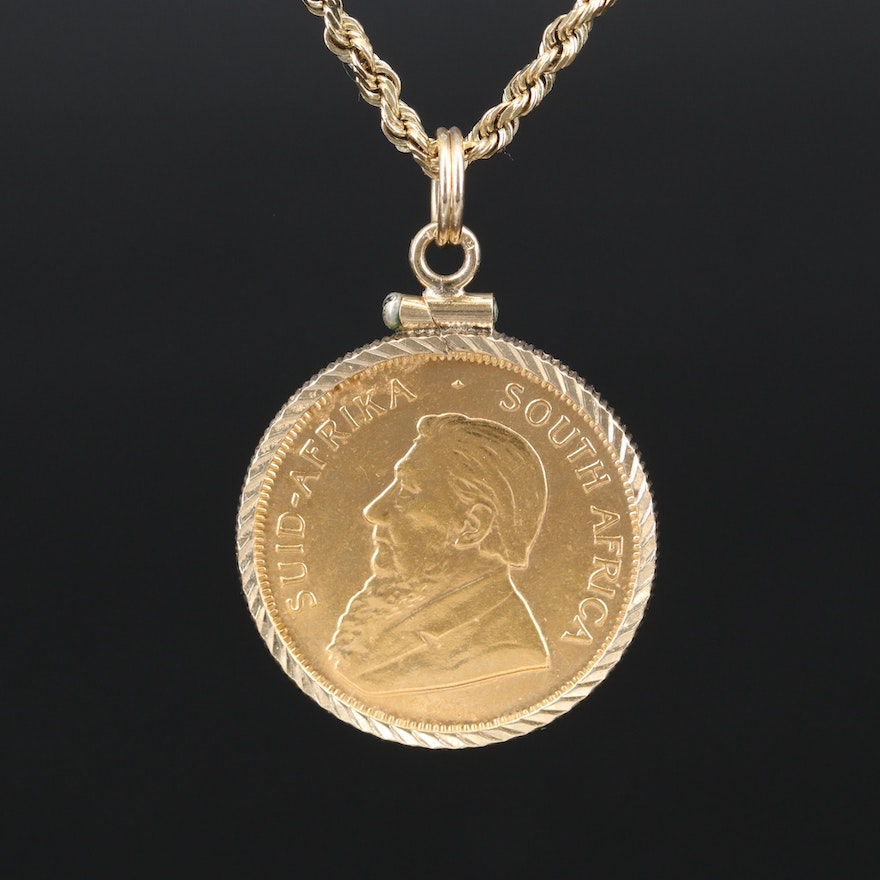 21K 1982 South Africa Krugerrand Bullion Coin Pendant on 14K Rope Chain Necklace