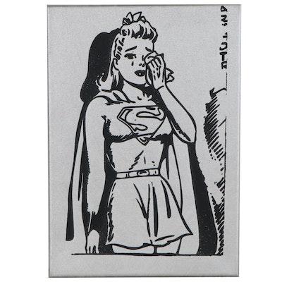 "Andrew Van Sickle Mixed Media Painting ""Weeping Supergirl,"" 2008"