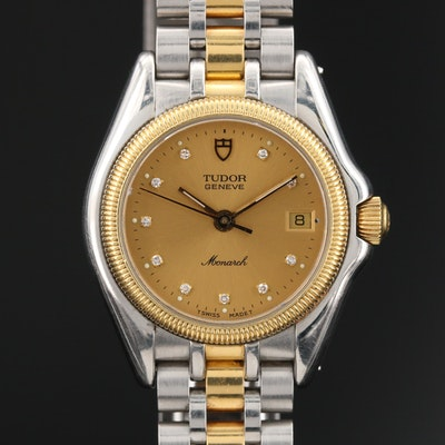 "Tudor ""Monarch"" 18K and Stainless Steel Diamond Dial Quartz Wristwatch"