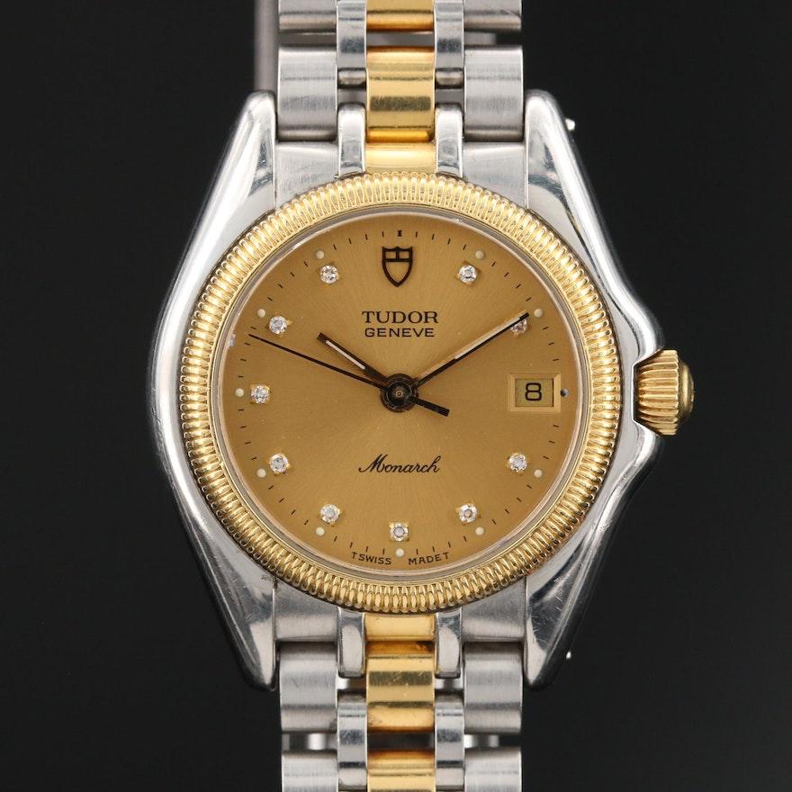 "Tudor ""Monarch"" 18K and Stainless Steel Diamond Dial Quartz Wristwatch"