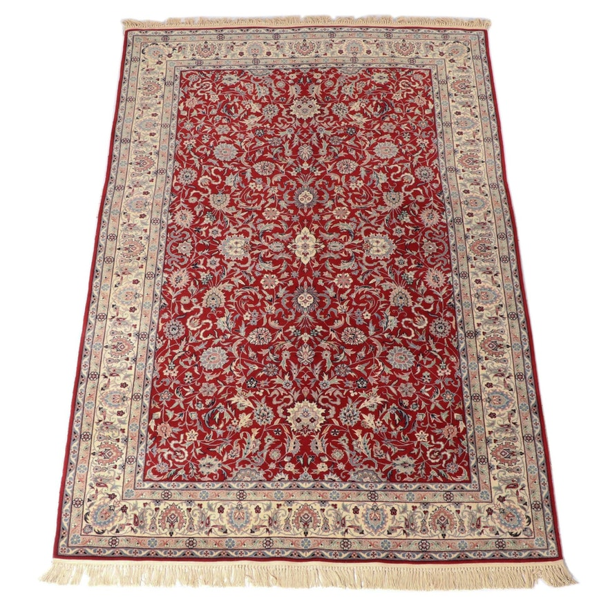 6' x 9'8 Hand-Knotted Indian Mahal Wool Area Rug