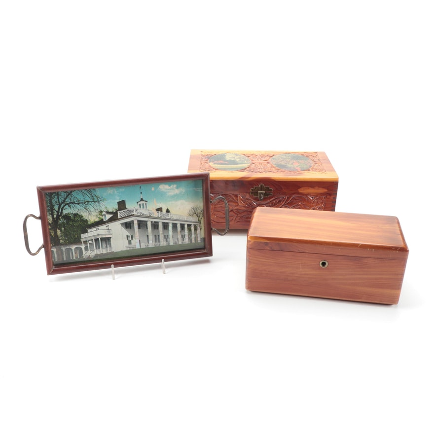 Lane Mini Cedar Chest with Carved Decoupaged Box and Mt. Vernon Tray