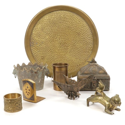 Hammered Tray with Other Brass and Metal Tableware, Mid to Late 20th Century