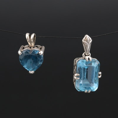 Sterling London Blue and Swiss Blue Topaz Pendants