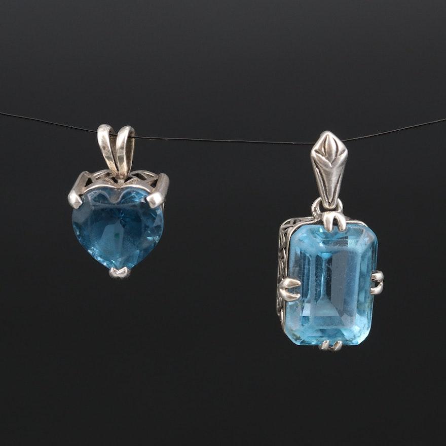 Sterling London Blue and Swiss Blue Topaz Pendants