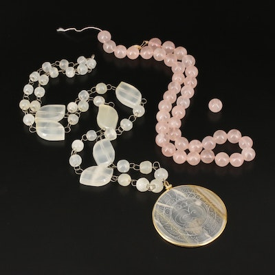 Rose Quartz and Agate Bead Necklaces with 14K Accent
