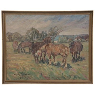 Nils Ström Oil Painting of Grazing Horses, 1940