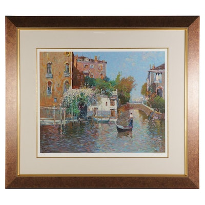 """Ming Feng Serigraph """"The Gondolier"""""""