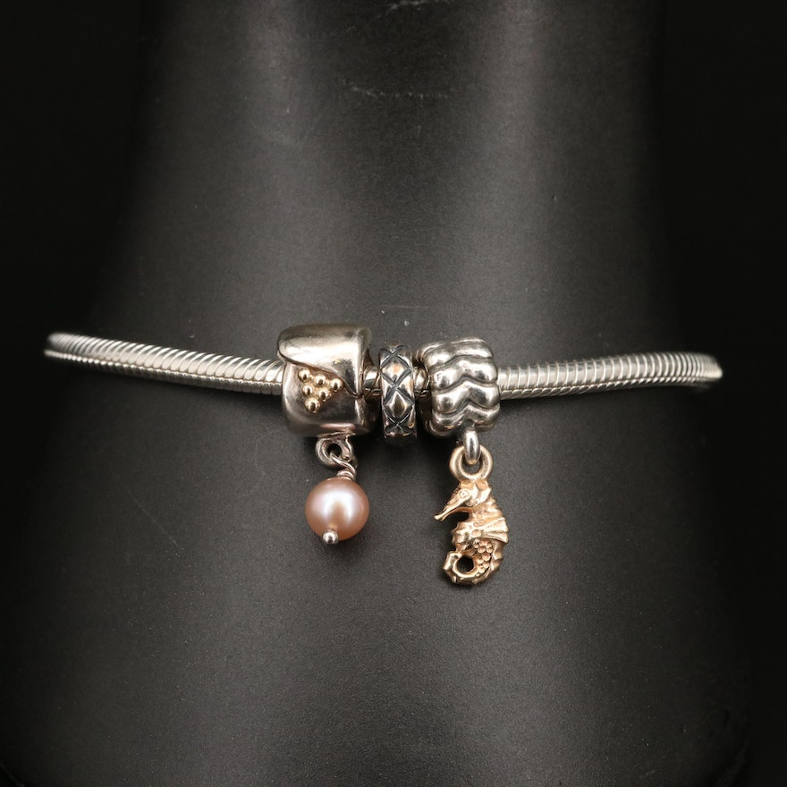 Chamilia Sterling Bracelet Featuring Pandora Charms with Sterling an 14K Accent