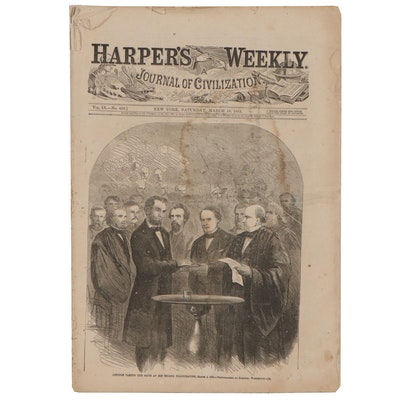 """""""Harper's Weekly"""" Wood Engraving of Lincoln's Second Inauguration, 1865"""