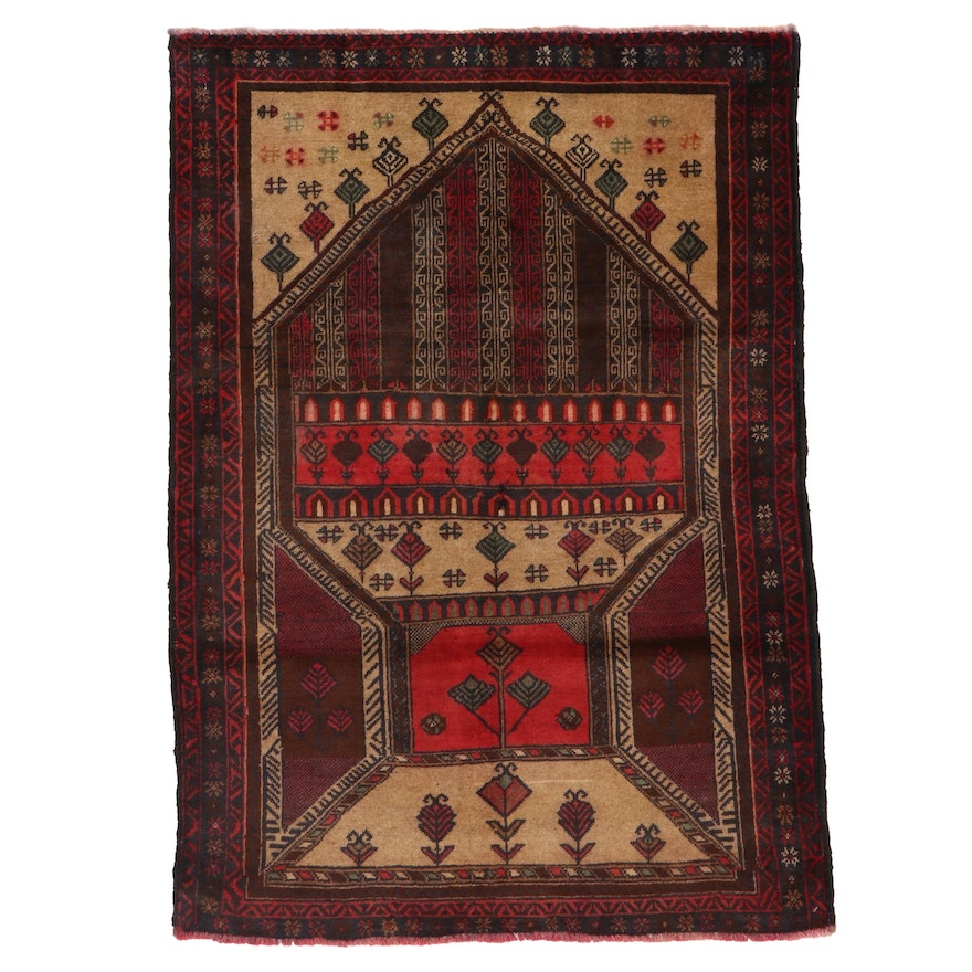 3' x 4'2 Hand-Knotted Afghan Baluch Prayer Rug