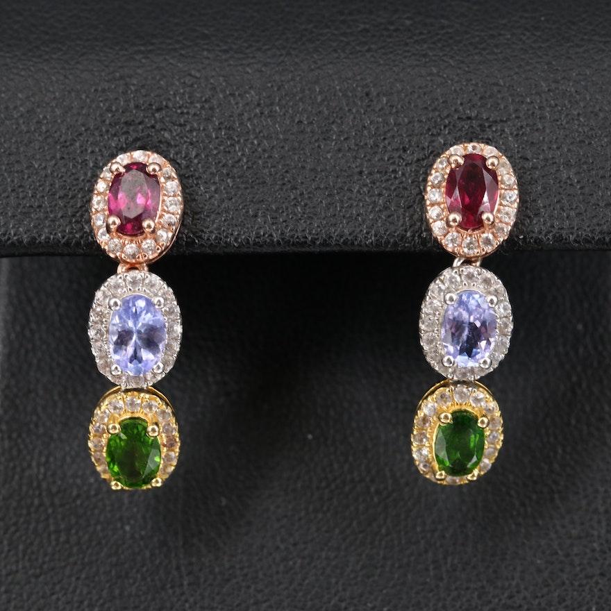 Sterling Rhodolite Garnet and Gemstone Drop Earrings
