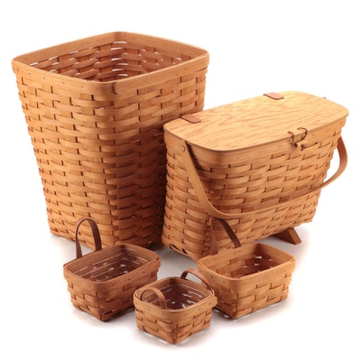 Longaberger Handwoven Maple Laundry Waste Basket, Magazine Holder and More