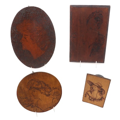 Art Nouveau Pyrography Wall Hanging Plaques, Early 20th Century
