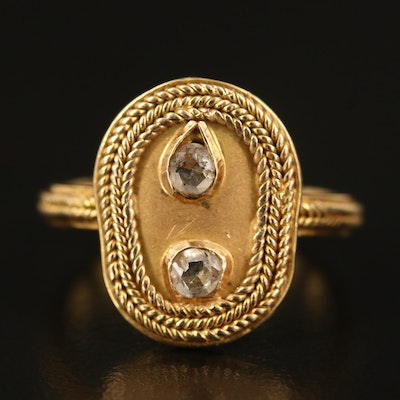 14K Diamond Rope Ring