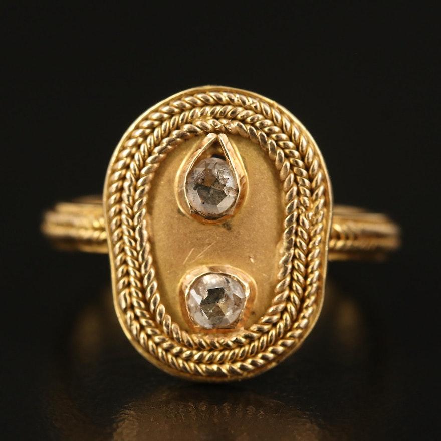 14K Diamond Rope Ring