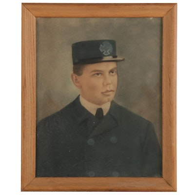 Crayon Portrait of Young Man in Uniform