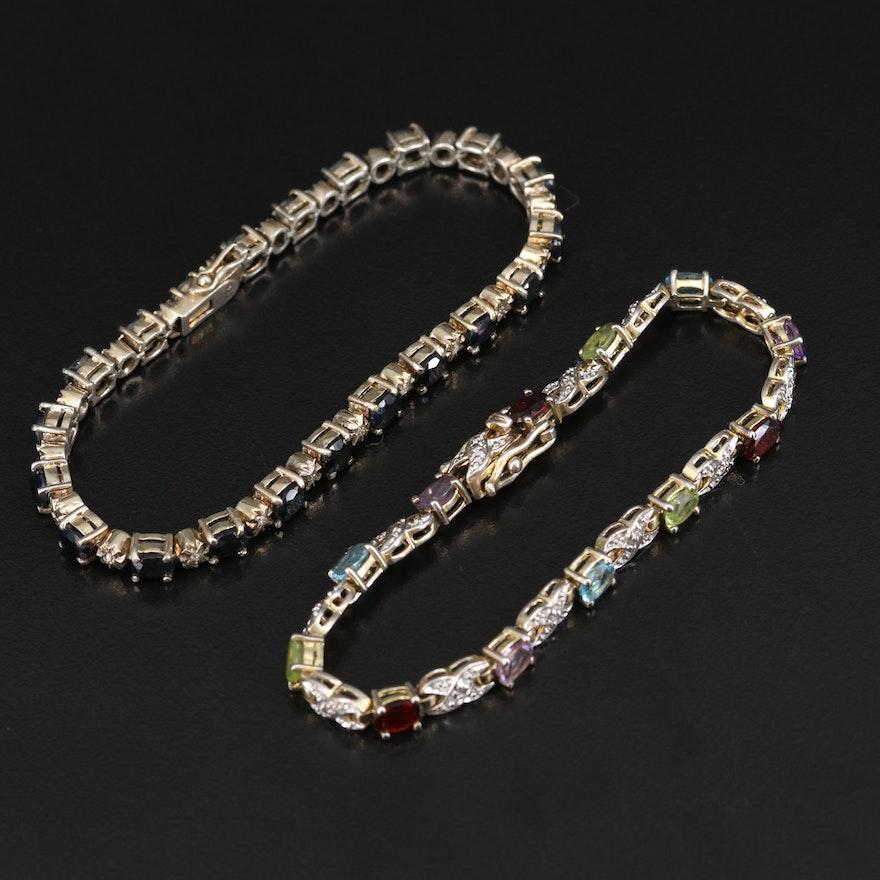 Sterling Sapphire, Diamond and Gemstone Link Bracelets