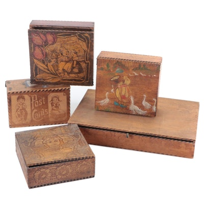 Pyrography Wooden Post Card and Other Hinges Boxes, Early 20th Century