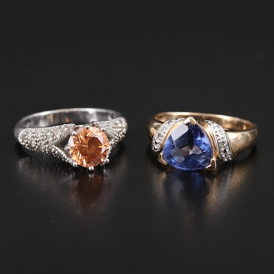Sterling Diamond, Glass and Gemstone Rings Including Joe Esposito