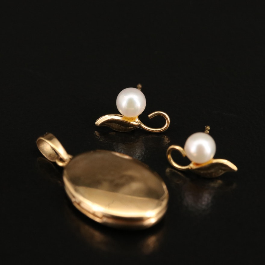 14K Pearl Stud Earrings and Locket Pendant