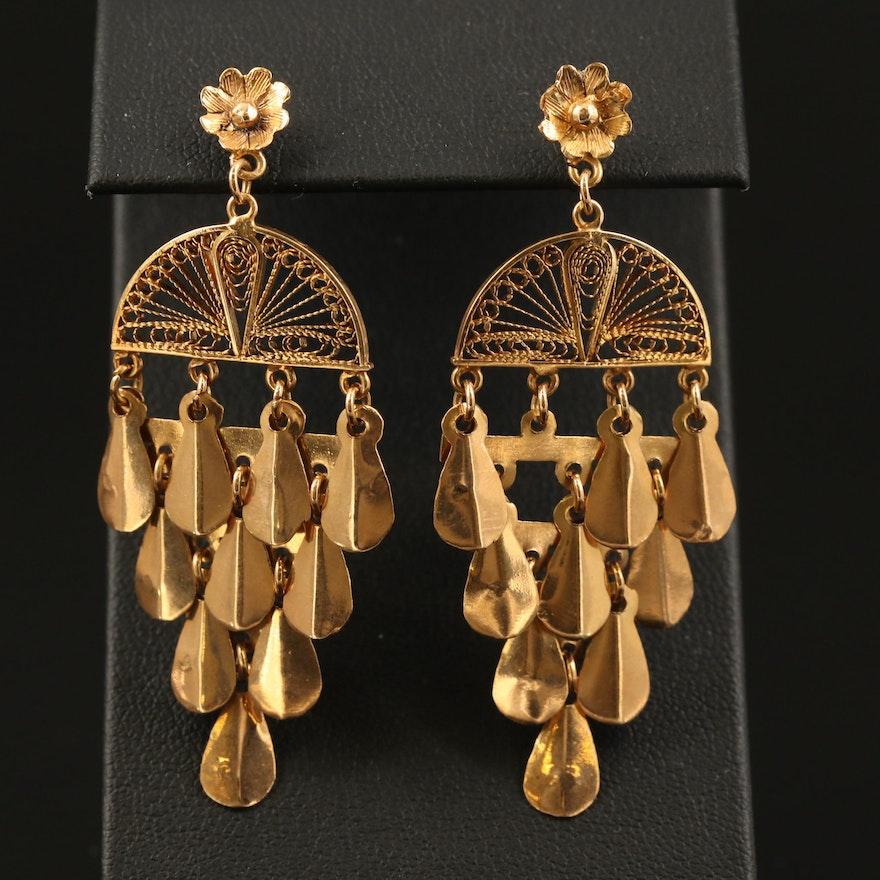 18K Chandelier Earrings with Filigree Detail
