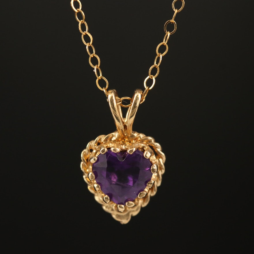 14K Amethyst Heart Pendant Necklace