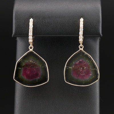 14K Watermelon Slice Tourmaline and Diamond Earrings
