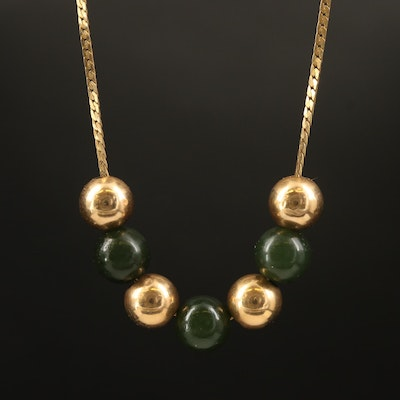 Alternating 14K and Nephrite Bead Necklace