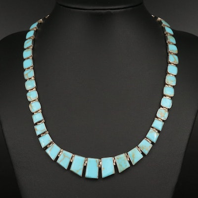 Sterling Graduated Turquoise Necklace