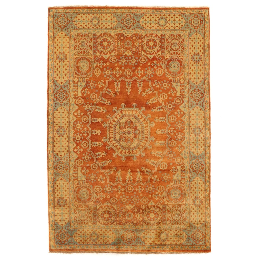 5'7 x 8'5 Hand-Knotted Indian Wool Area Rug