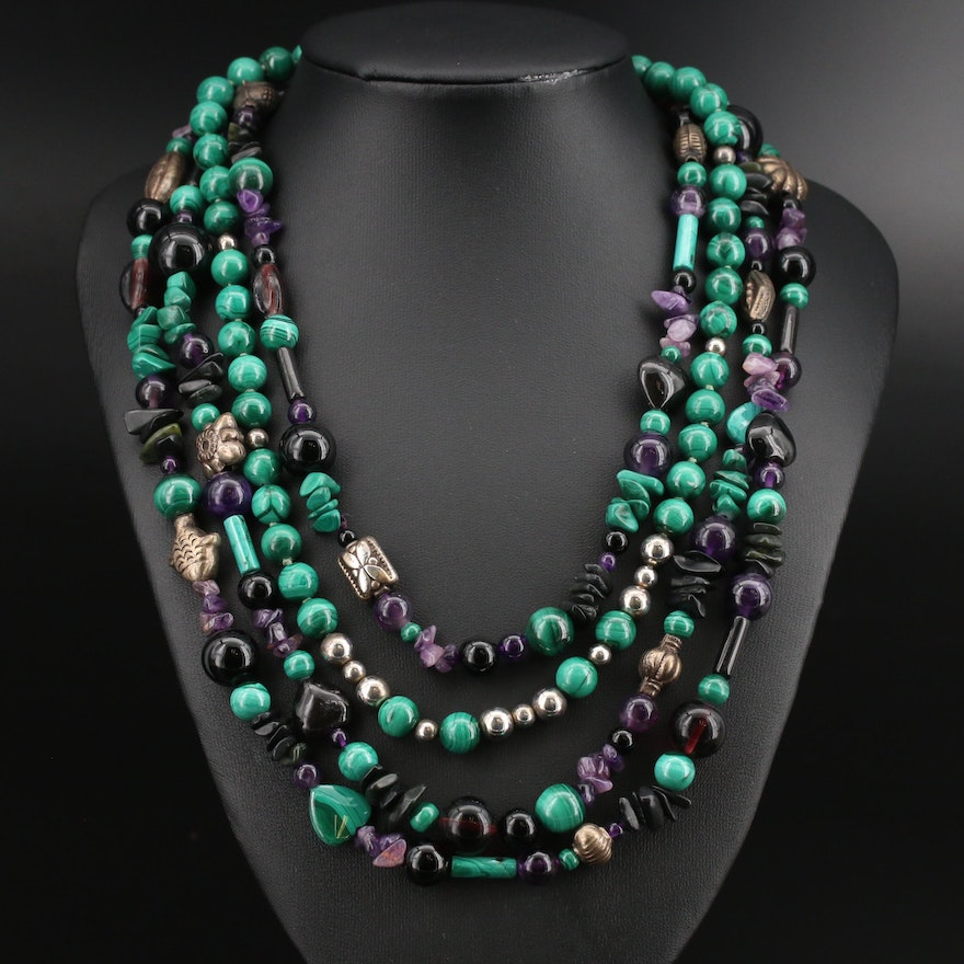 Sterling Malachite and Gemstone Beaded Necklaces