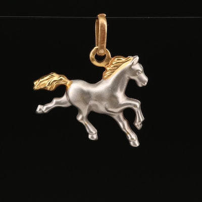 18K Two-Tone Galloping Horse Pendant