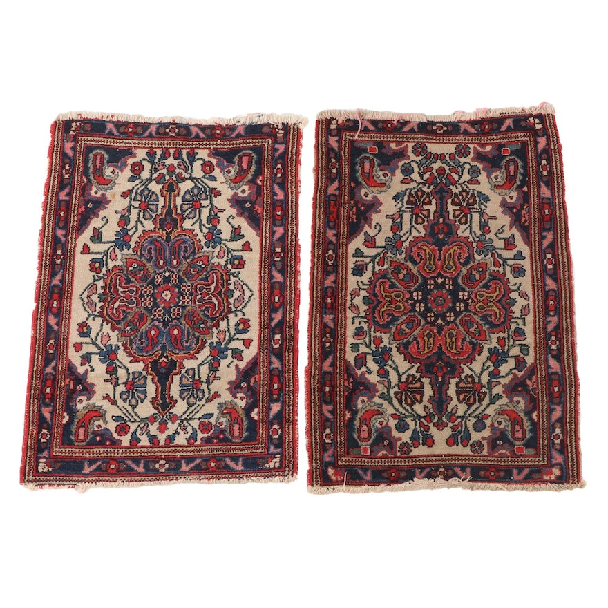 1'11 x 3' Hand-Knotted Persian Bijar Wool Accent Rugs