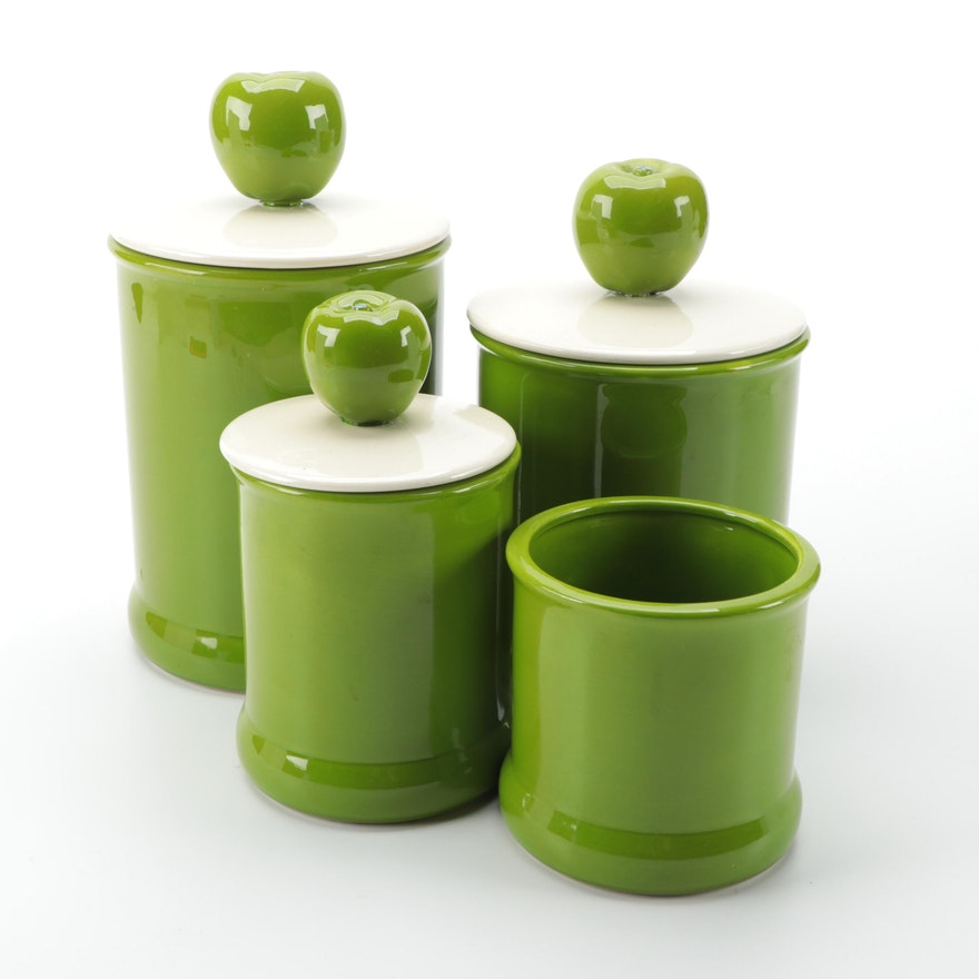 Holiday Designs Ceramic Lidded Canisters with Green Apple Finials, Late 20th C.