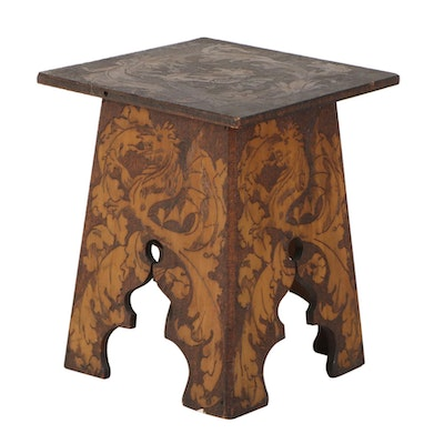 Arts and Crafts Pyrography Side Table, Early 20th Century