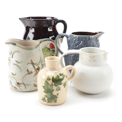 Robinson Ransbottom and Other Ceramic Pitchers, Mid to Late 20th Century