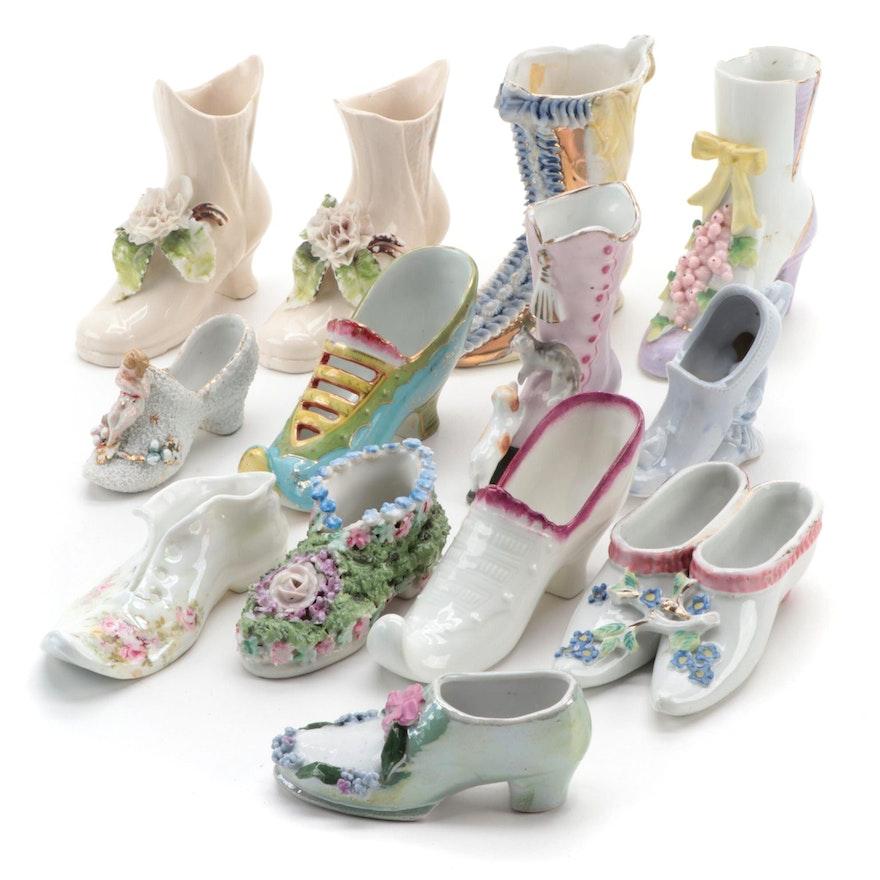 Porcelain Shoe Figurines, 20th Century