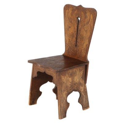 Arts and Crafts Pyrography Side Chair with Griffins
